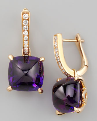 Jelly Bean Amethyst Cushion & Diamond Earrings, 0.16 TCW