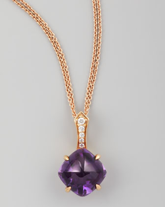 Jelly Bean Round Amethyst & Diamond Pendant Necklace