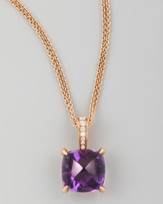 Jelly Bean Amethyst Cushion & Diamond Pendant Necklace