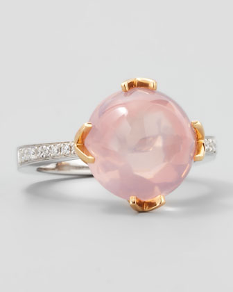 Jelly Bean Round Rose Quartz & Diamond Ring, 0.12 TCW