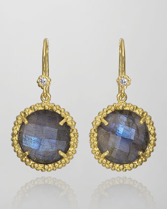 Pebble Labradorite & Diamond Earrings