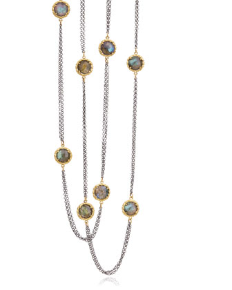 Pebble Collection Labradorite Blackened Silver & Gold Bezel Necklace