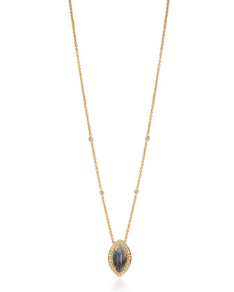 Isabella Collection Marquise Labradorite & Diamond Necklace