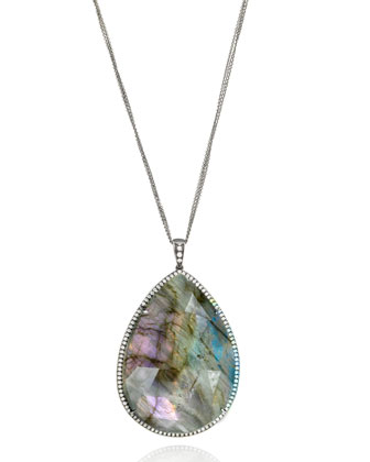 Mischa Collection Pear Labradorite & Diamond Necklace