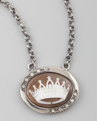 Diamond-Trim Crown Cameo Necklace