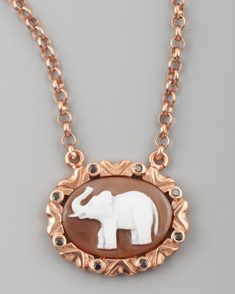 Black Diamond-Trim Elephant Cameo Necklace