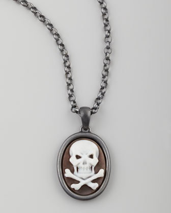 Hand-Carved Skull Cameo Necklace