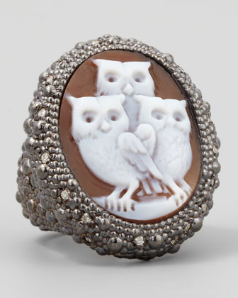 Diamond-Trim Hand-Carved Owl Cameo Ring