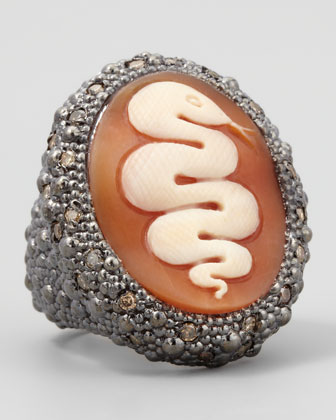 Diamond-Trim Hand-Carved Snake Cameo Ring