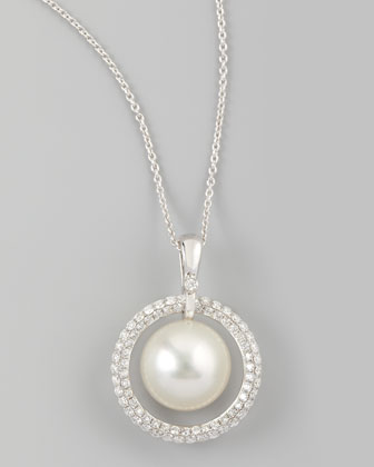 White South Sea Pearl & Diamond Halo Necklace, 0.72ct