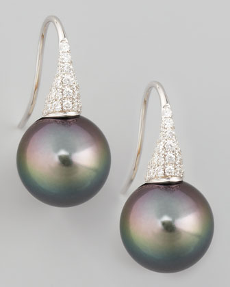 Gray South Sea Pearl & Diamond Drop Earrings, 0.44ct