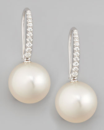 White South Sea Pearl & Diamond Drop Earrings, 0.16ct