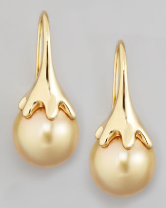 Golden South Sea Pearl Drop Earrings
