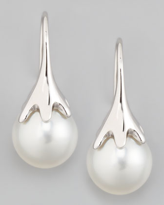 White South Sea Pearl Drop Earrings