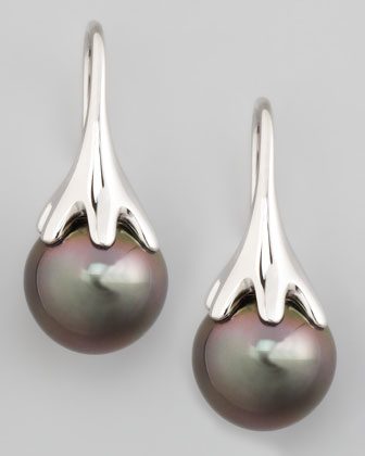 Gray South Sea Pearl Drop Earrings