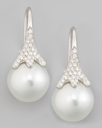 White South Sea Pearl & Diamond Drop Earrings, 0.56ct