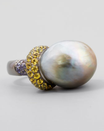 Gray Pearl Ring with Yellow Diamond and PINK Sapphire