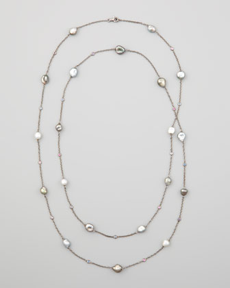 Gray Keshi Pearl & Sapphire Station Necklace, 42