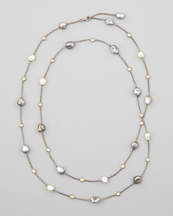 18k Gray Keshi Pearl & Diamond Station Necklace, 36