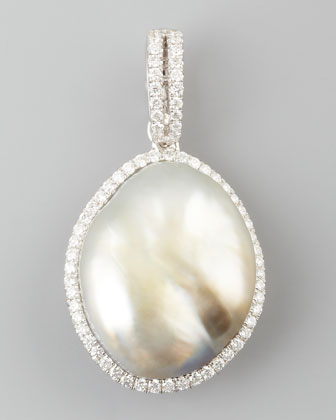 COLOR South Sea Pearl and Diamond Halo Pendant, 0.27 TCW