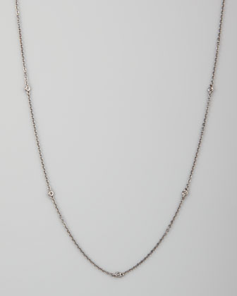 White/Black Diamond-Station 18k Chain Necklace, 36