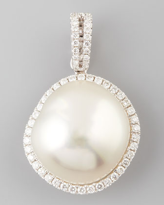 White South Sea Pearl and Diamond Halo Pendant, 0.33 TCW