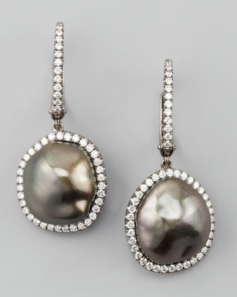 Antique Gray South Sea Pearl and Diamond Framed Drop Earrings, White Gold ...
