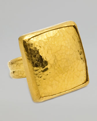 Amulet 24K Gold Large Square Ring