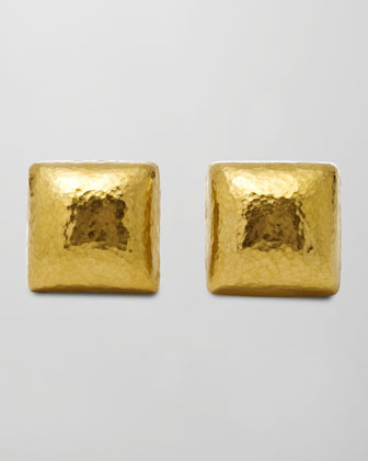 Dome 24k Gold Square Stud Earrings