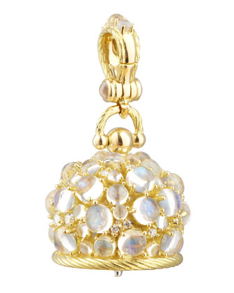 18k Moonstone/Diamond Meditation Bell Pendant, 20mm