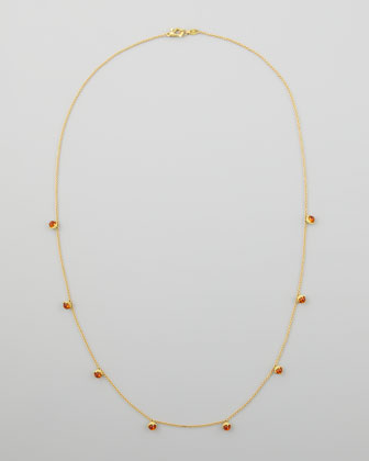 18k Mini Jingle Bell Citrine Necklace, 28