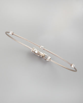 18k White Gold Three-Diamond Bracelet, 0.18 TCW