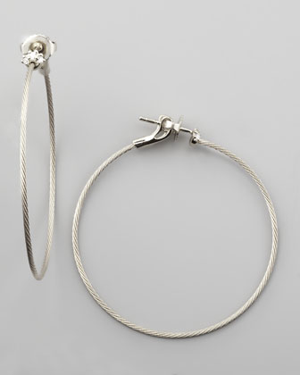 18k White Gold Diamond Cluster Hoop Earrings, 40mm
