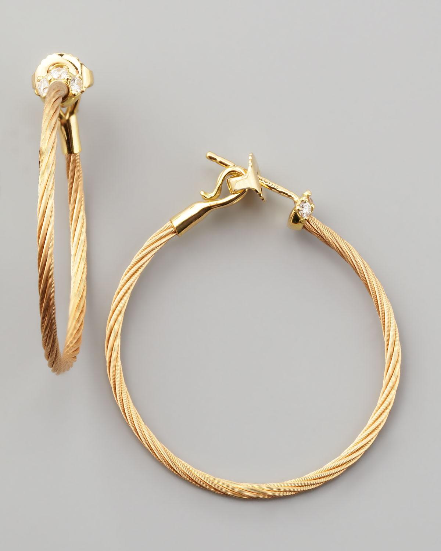 18k Yellow Gold Diamond Cluster Hoop Earrings, 30mm   Paul Morelli   Yellow