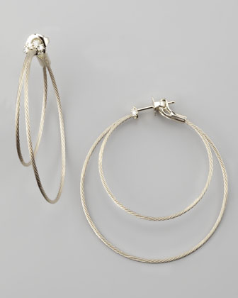 18k White Gold Diamond Cluster Double-Hoop Earrings