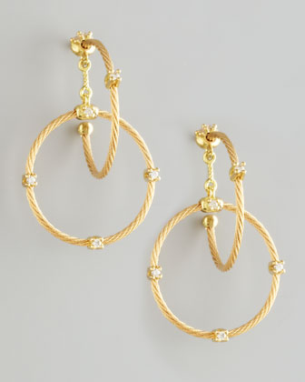 18k Yellow Gold Diamond Link Earrings, 28mm