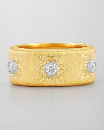 Classica 18k Gold Band Ring with Diamonds
