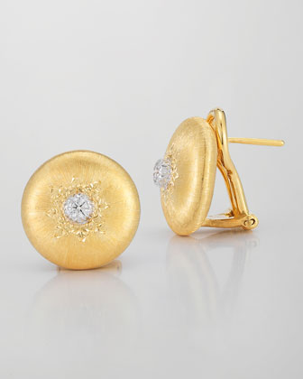 Classica 18k Gold Small Button Earrings with Diamonds