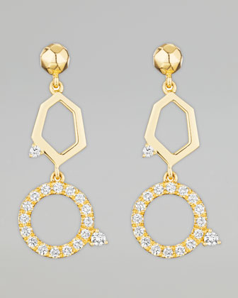 Jackson Yellow Gold Diamond 2-Drop Earrings