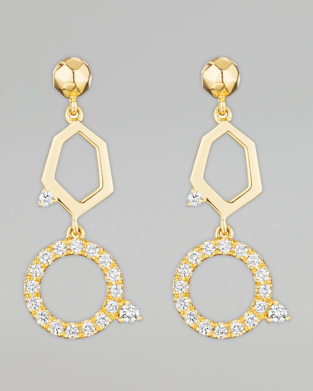 Jackson Yellow Gold Diamond 2 Drop Earrings   Mimi So   Yellow