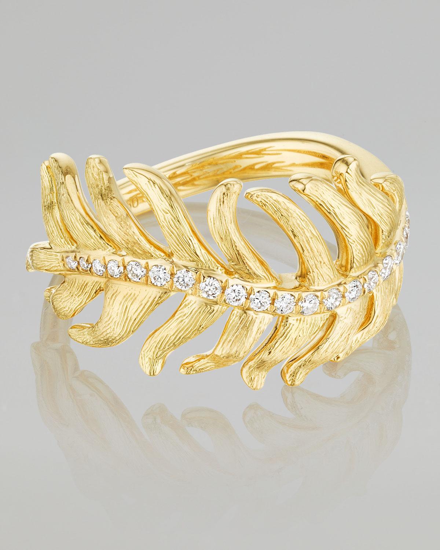Phoenix 18k Yellow Gold Diamond Feather Ring   Mimi So   Yellow (6)
