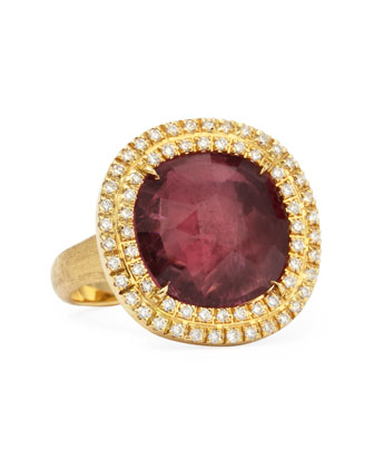 Jaipur Sunset 18kt Gold Double-Diamond Pink Tourmaline Ring