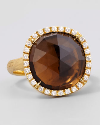 Jaipur Sunset Diamond-Bezel Smoky Quartz Ring