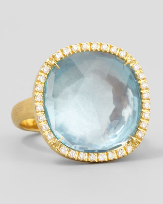 Jaipur Sunset Diamond-Bezel Blue Topaz Ring