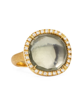 Jaipur Sunset 18kt Gold Diamond Green Quartz Ring