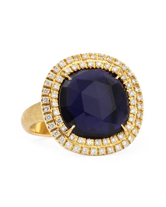 Jaipur Sunset 18kt Gold Double-Diamond Iolite Ring