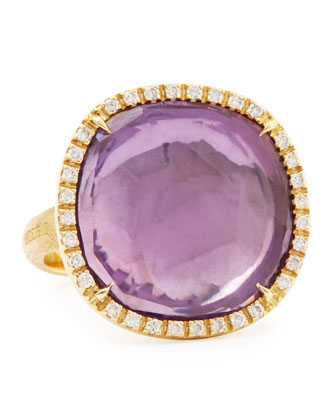 Jaipur Sunset Diamond-Bezel Amethyst Ring