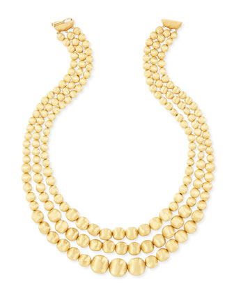 Africa 18k Yellow Gold Three-Strand Bib Necklace