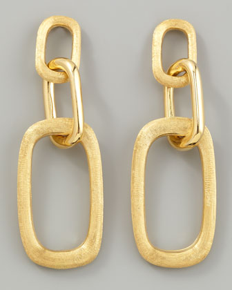 Murano 18k Brushed Gold Link Drop Earrings