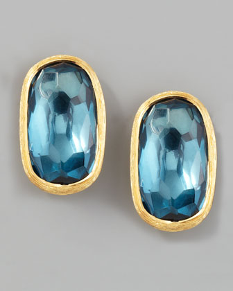 Murano 18k London Blue Topaz Stud Earrings, 15mm